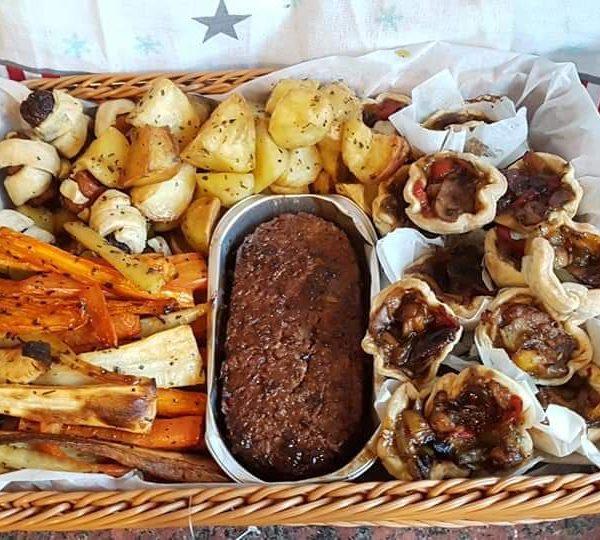 A wonderful hamper of carrots, veg, tarts, roasters and linda McCartney roast
